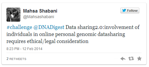 #challenge @DNADigest Data sharing2.0:involvement of individuals in online personal genomic datasharing requires ethical/legal consideration