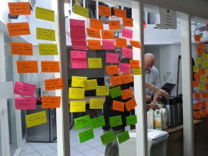 Wall of post it notes at the OKFN workshop